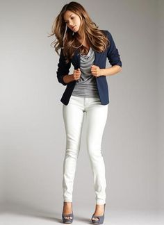 I love the cowl detail on the top and the color of the jacket.  Not a fan of the white pants but it looks nice together