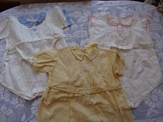 3 hand made Vintage 1950s Baby one Piece Rompers lace collars trim belted waist