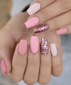 There are three kinds of fake nails which all come from the family of plastics. Acrylic nails are a liquid and powder mix. They are mixed in front of you and then they are brushed onto your nails and shaped. These nails are air dried. Matte Pink Nails, Pink Glitter Nails, Cute Acrylic Nails, Fun Nails, Acrylic Gel, Short Pink Nails, Acrylic Spring Nails, Glitter Nikes, Matte Nail Art