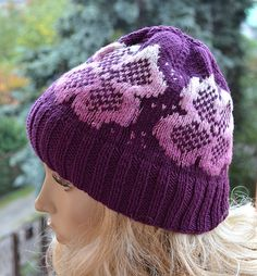 Purple  cap / hat lovely warm by DosiakStyle on Etsy