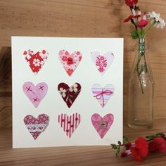 9 hearts Valentines card £2.75