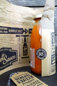 Telegramme: Hawt Sauce - love the writing inside the paper wrap!
