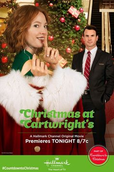 """TONIGHT 8/7C Alicia Witt must keep a #Christmas secret in the midst of a blossoming holiday romance! Don't miss the premiere of """"Christmas at Cartwright's"""" TONIGHT 8/7C only on Hallmark Channel USA!"""