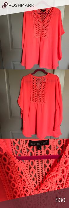Coral Cover Up Brand new, never worn coral Cover Up! Unfourntetly this is brand new, yet when I was taking pictures I noticed a snag in the bottom! As seen in pics! Would have returned had I seen it when I purchased it! Price is reflective of this! Club Z Collection Swim Coverups