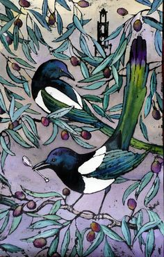 In European folklore, magpies are birds of bad omen because of their aggressiveness towards smaller songbirds and their tendency to steal shining coins and jewels, or anything small and shiny Magpie Tattoo, Bird Quilt, National Art, Art Design, Bird Art, Beautiful Birds, Pet Birds, Printmaking, Folk Art
