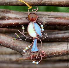 Stained Glass and Wire Bird