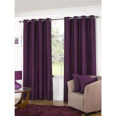 KLiving Manhattan Plain Panama Unlined Eyelet Curtain 45 x 72 Aubergine