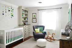 Gray and Green Baby Boy's Nursery - Young House Love Nursery // such a cool, neutral room! Nursery Wall Decals, Nursery Room, Boy Room, Kids Bedroom, Bedroom Decor, Kids Rooms, Master Bedroom, Young House Love, Built In Dresser