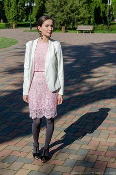 Lace dress & white blazer