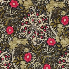 Morris Seaweed Fabric From the Morris & Co collection 'Morris Seaweed' design in ebony and poppy shows a free flowing and sinuous pattern which captures the underwater movement of plants.