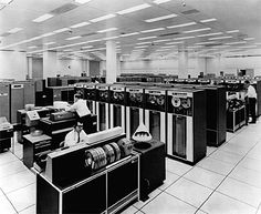 Computer History: the IBM 7090 mainframe computer. Could fill a large room in the 70's. Of course, the smaller computers of today can outperform it easily, but this is a milestone in datacenter technology of today.