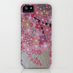 pink cherry blossom tree with silver background coral white grey gray delicate pretty feminine girls iPhone  iPod Case