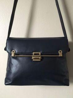 Etienne Aigner Vintage Navy Blue Leather Flip Lock Satchel Bag 3fadeaa458e88