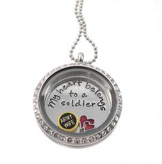 Items similar to Army Wife Charm Locket - My heart Belongs to a Soldier Floating Locket Necklace on Etsy Floating Lockets, Floating Charms, Locket Charms, Locket Necklace, Army Mom, Army Girlfriend, Army Life, Military Life, Skinny Rings