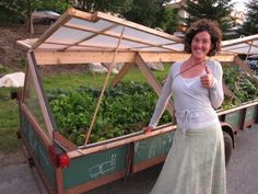 """Meaghan Minogue, YogaSlacker and nomad from Stowe, Vermont, is currently traveling with her mobile greenhouse, called """"Meaghan's Mobile Garden Project,"""" a garden built into a gutted utility trailer hitched to her car."""