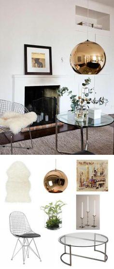 #Copper + Chrome #LivingRoom. #adoredecor #interiordesign