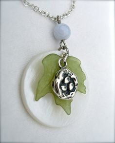 Birds nest necklace in blue silver and green from A Cup of Sparkle