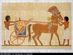 Reproduction of a fresco depicting a princely chariot of the 18th Dynasty from Tell el-Amarna, engraving from Atlas de l'Histoire de l'Art Egyptien d'apres les monuments, depuis les temps les plush recules jusq'a the domination romaine....