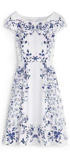 blue and white floral wedding dress for older brides Hobbs prshots
