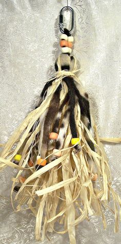 Raffia and Fleece Bird Toy  Brown Multi Color by OtherThings, $8.35