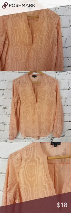 Peach Textured Ikat Print Button Down Tunic Blouse Absolutely beautiful color and detail in this The Limited tunic blouse.  Semi sheer material in a peach, blush, orange pink color Textured Ikat print  100% polyester  Office, work, professional, career, top, button down, dressy The Limited Tops