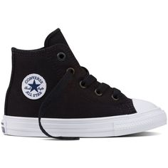 Converse Chuck Taylor All Star II Inf/Tdlr – black Sneakers ($40) ❤ liked on Polyvore featuring shoes, sneakers, black, cushioned shoes, canvas sneakers, black canvas shoes, canvas shoes and kohl shoes