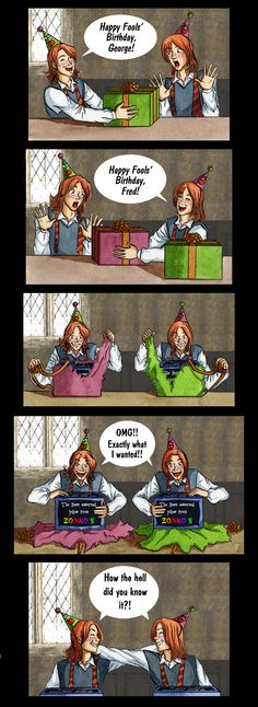Happy Fools' Birthday by Froda-Stoney on DeviantArt Happy birthday Fred and George!!! (Geek Stuff Slytherin)