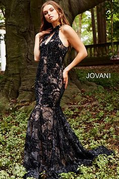 7fa0eb0e93 Black Nude High Key Hole Neck Fitted Lace Prom Dress 54834  BlackPromDress   Prom2018