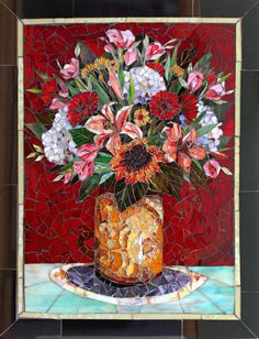 Glass mosaic floral art by Carl and Sandra Bryant Showcase Mosaics