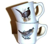 Vintage Pheaseant Quail Mugs Genuine Taylor  turquoise gold rim