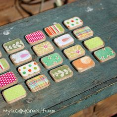 washi wooden magnets--very fun idea to do with washi tape :-) I recently discovered these tapes and use them all the time when doing cards, giftwrap, and collage designs.