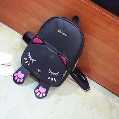 Mini Leather Backpack Travel Rucksack Shoulder Bag Womens Cat School Bags A0027