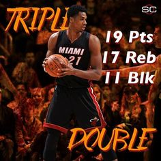 Hassan Whiteside finishes with his third career triple-double as the Miami Heat defeat the Denver Nuggets, 98-95. 1/15/2016