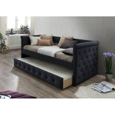 Features: -Modern and contemporary fabric upholstered daybed. -Pull-out trundle bed with wheels. -Tufted: Yes. -Button-tufting design on the side panels and front panel. Daybed Couch, Daybed Room, Upholstered Daybed, Futon Mattress, Small Room Bedroom, Small Rooms, Bedroom Decor, Bedroom Ideas, Spare Room