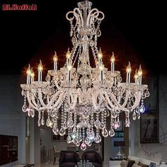 Crystal chandelier luxury lighting fixture – Lamp World Chandelier Lighting Fixtures, Luxury Chandelier, Chandelier In Living Room, Iron Chandeliers, Contemporary Chandelier, Luxury Lighting, Chandelier Lamp, Light Fixtures, Antique Chandelier