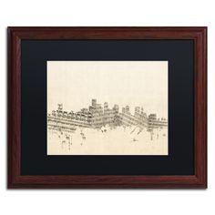 Boston Skyline Sheet Music by Michael Tompsett Framed Graphic Art in Ivory