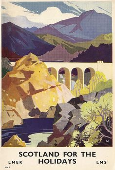 Vintage Travel Poster Scotland Travel by Trans-Australian Railway. Vintage travel poster of beach, france Posters Uk, Train Posters, Railway Posters, Vintage Travel Posters, Vintage Postcards, Retro Posters, Old Poster, Poster Ads, Advertising Poster