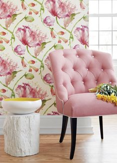 i love the tree stump painted white:)pink tufted chair + Tuileries wallpaper from Anna French ❤ ❤ Anna French Wallpaper, Pink Wallpaper For Walls, Wallpaper Decor, Tufted Chair, Chair Cushions, French Fabric, Pink Room, Interior Exterior, Fine Furniture