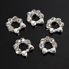 QINF 10pcs Xmas Silver Mistletoe Wreath Clear Rhinestones 3D Alloy Nail Art Decoration *** More info could be found at the image url.
