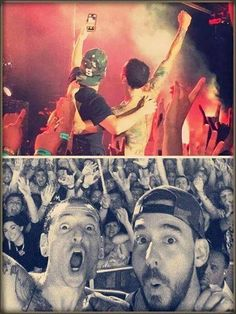 Chester and Mike Linkin Park The most epic pic of all mankind Linkin park is my past present and future . Chester Bennington, Charles Bennington, Chester Rip, Linkin Park Chester, Mike Shinoda, Hollywood Undead, Music Is Life, Cool Bands, Beautiful
