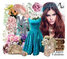 Spring dress by pattycontrerasblanch on Polyvore featuring polyvore fashion style Valentino Prada Mimco Yvel Laura Geller Vera Wang LSA International INC International Concepts Pier 1 Imports Etiquette Gap clothing art deco earrings spring dress lace bag ring heels necklace