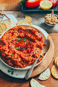 Muhammara dip with roasted red peppers, Aleppo pepper, walnuts, and pomegranate molasses Lebanese Recipes, Turkish Recipes, Ethnic Recipes, Lebanese Cuisine, Arabic Recipes, Baker Recipes, Cooking Recipes, Cooking Tips, Muhammara Recipe