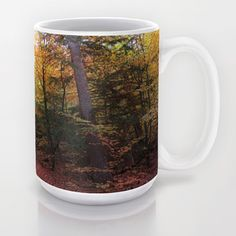 MM - Autumnally forest path Mug Landscape, fall, path, way, road, broadleaf forest, soft light, autumn, yellow, trees, nature, fauna