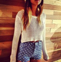 Cropped knit sweater and polka dot high waisted shorts