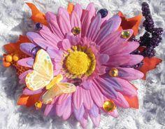 Purple and Orange Daisy Flower Fairy Butterfly Halloween Hair Clip.