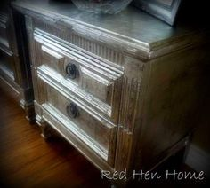 """""""Silver Leaf"""" Nightstands...done with aluminum foil, wallpaper paste and black glaze...so much cheaper than real silver leaf, and likely not nearly as messy."""