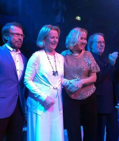 """... ABBA made a rare joint appearance Wednesday to celebrate the opening of a """"Mamma Mia""""-inspired restaurant in Stockholm. Mamma mia, it's an ABBA reunion!"""