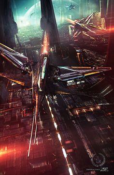 TERMINAL RACE by Shue13 | Digital Art / 3-Dimensional Art / Scenes / Futuristic & Sci-Fi | City metropolis cyberpunk vehicles aircraft spacecraft spaceships