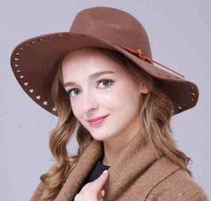 Hollow wide brim floppy felt hat for lady with bow fedora hats winter wear