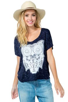 Give a hoot and holler to this totes adorbs tee! Puffed owl graphic in the front. Scoop neck. Short dolman sleeves. Boxy fit. Finished hem. Space-dyed knit.